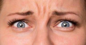 Face woman with eyes and eyelashes. Close-up scared face of beautiful young woman with beautiful blue eyes and big pretty eyelashes and eyebrows. Macro of human Stock Photo