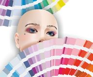 Face of woman with fan pantone stock image