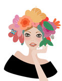 Face woman, floral hairstyle. Face woman, floral hair, vector illustration Stock Image