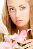 Face of woman with flower Royalty Free Stock Photos