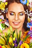 Face of woman with flower. Royalty Free Stock Photos