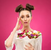 Face woman, fruit bouquet, pink royalty free stock photos