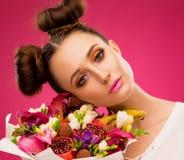 Face woman, fruit bouquet, pink stock photos