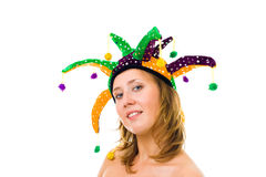 Face of a woman in funny cap Royalty Free Stock Photos