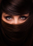 Face of woman and hair. Face of beautiful woman in mask from hair Stock Photo