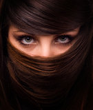 Face of woman and hair. Face of beautiful woman in mask from hair Royalty Free Stock Photography