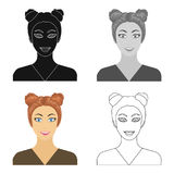 The face of a woman with a hairdo. Face and appearance single icon in cartoon style vector symbol stock illustration web Stock Photo