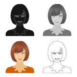 The face of a woman with a hairdo. Face and appearance single icon in cartoon style vector symbol stock illustration web Stock Images