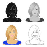 The face of a woman with a hairdo. Face and appearance single icon in cartoon style vector symbol stock illustration web Royalty Free Stock Photos