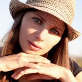 Face woman with hat stock photography