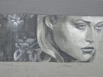 Female Face Mural in Portland, Oregon stock photo