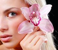 Face of woman and orchid Stock Photography