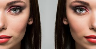 Face of woman before and after retouch Stock Photo