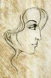 Face of Woman Sketch Drawing. A pencil sketch of a female face, digitally recreated for aged effect vector illustration