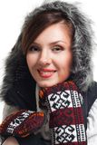 Face of a woman smile wearing winter clothes Royalty Free Stock Photos