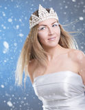 Face of a woman on a snowy background Stock Images