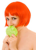 Face of woman with sponge Royalty Free Stock Image