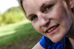 Face of woman after sport without makeup Royalty Free Stock Photo