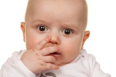 Face of a wondering baby Royalty Free Stock Images