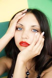 Face of  young beautiful brunette Stock Images