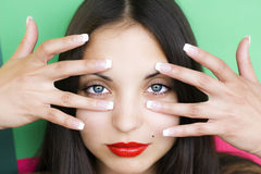Face of  young beautiful brunette woman Stock Images