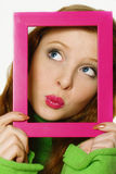 Face of the young beautiful girl in a frame Stock Photo