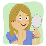 Face of young beautiful healthy woman looking in the mirror Royalty Free Stock Image