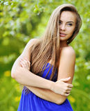 Face of the young beautiful sexy woman outdoors Stock Images