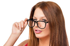 Face of a young and beautiful woman with glasses Stock Photography