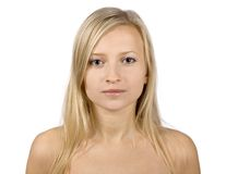 Face of young blonde woman royalty free stock photos