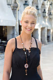 Face of a young blonde woman on summer holiday in Corfu. Stock Images