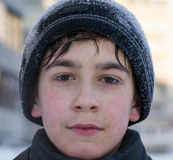 Face of young caucasian boy in winter walking cold weather siberian winter Stock Photos