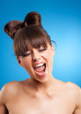 Face of a young crying woman Royalty Free Stock Photo