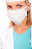 Face of a young doctor in a protective mask Royalty Free Stock Photography