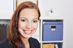 Face of young happy business woman Stock Photo