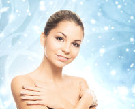 Face of young and healthy girl over winter background Royalty Free Stock Image