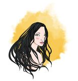 Face of a young long-haired girl on a background of yellow watercolor sun. Woman portrait, vector illustration, isolated Stock Image