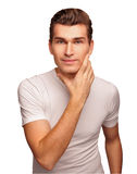 Face of the young men isolated on white background. Stock Photos