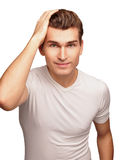 Face of the young men isolated on white background. Royalty Free Stock Photography