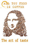 A face of a young woman arranged from coffee beans. A face of a young woman arranged from coffee beans with quotes and coffee stains, isolated on white stock photo
