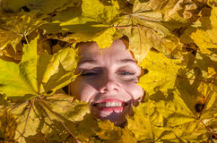 Face of a young woman with a beautiful girl lips with red lipstick and painted lashes which lies in the yellow maple leaves in aut Royalty Free Stock Image