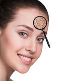 Face of young woman with dry skin. Royalty Free Stock Photography