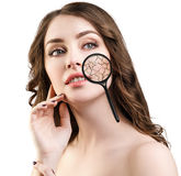 Face of young woman with dry skin. Stock Image