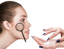 Face of young woman with dry skin. Stock Photos
