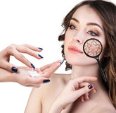 Face of young woman with dry skin. Royalty Free Stock Images