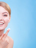 Face of young woman girl taking care of dry skin. Stock Photography