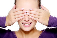 Face of young woman hide her eyes Royalty Free Stock Photos