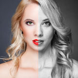 Face of young woman before and after retouch Stock Photo