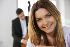 Face of young woman smile on camera Stock Images