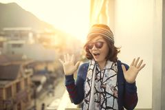 Face of younger asian woman suprising face Royalty Free Stock Photos